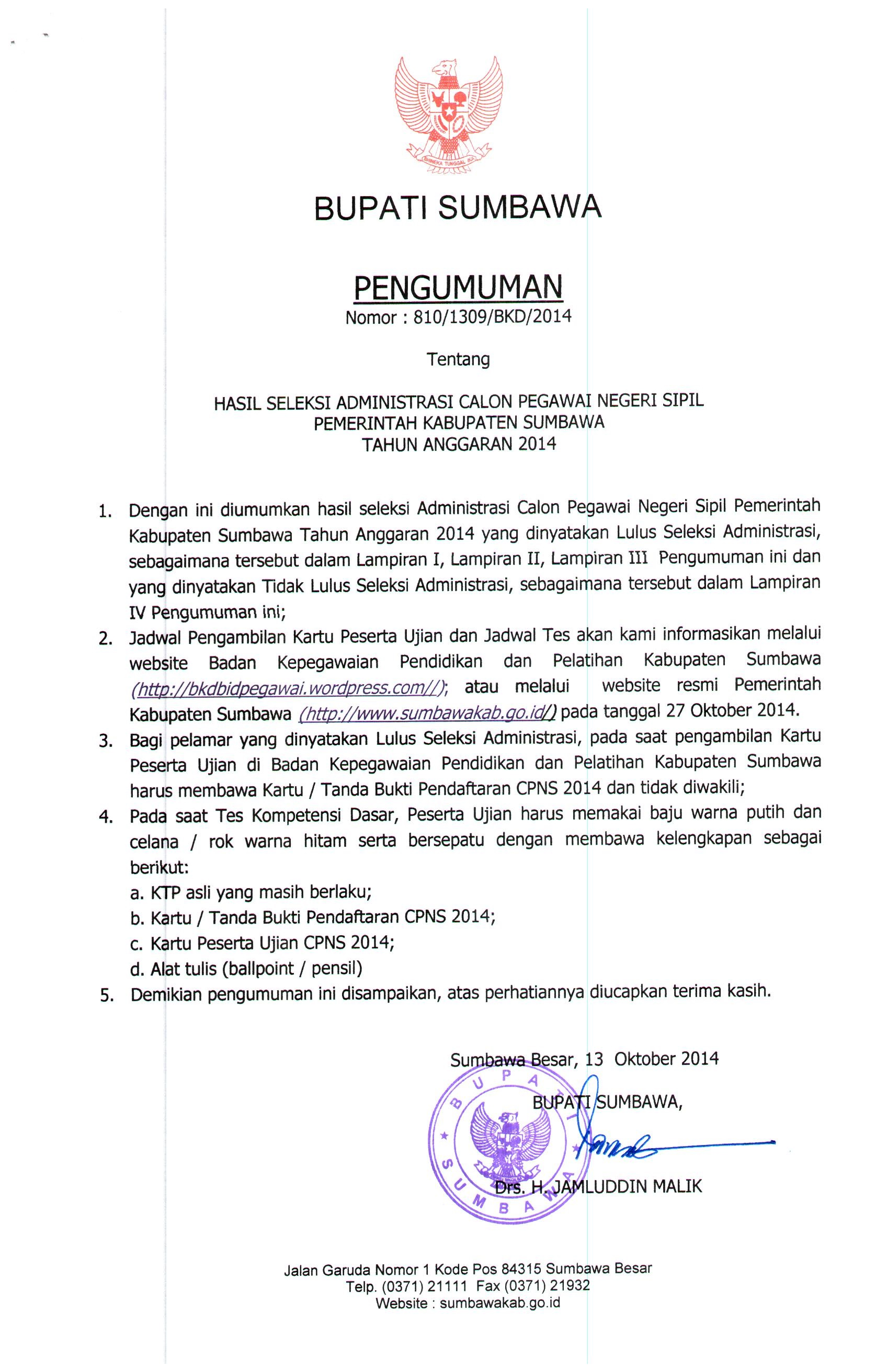 Seleksi Cpns 2014 Share The Knownledge